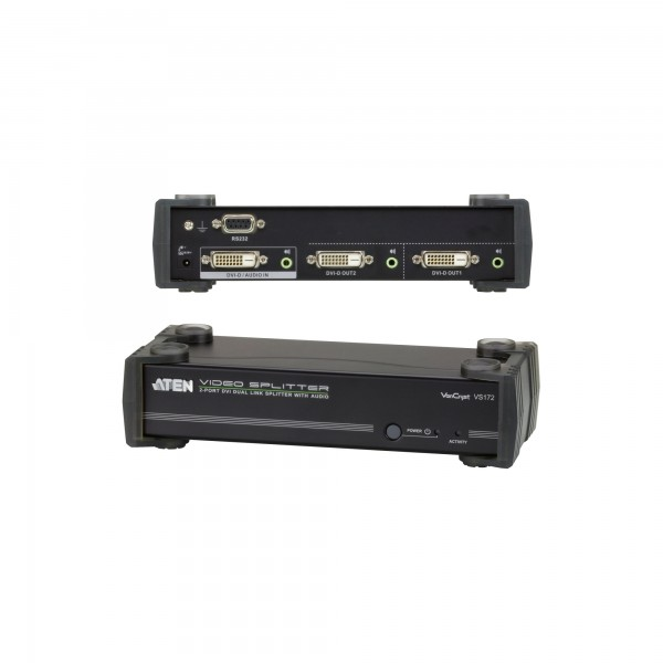 ATEN VS172 Video-Splitter DVI 2-fach Monitor-Verteiler mit Audio, Dual-Link