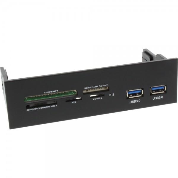 InLine® Frontpanel für den DVD-Schacht, Cardreader, 2x USB 3.0