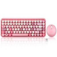 Perixx PERIDUO-713 DE, Mini Tastatur und Maus Set, Retro Vintage Design, rosa