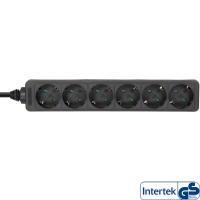 InLine® Steckdosenleiste, 6-fach Schutzkontakt, 1,5m, schwarz