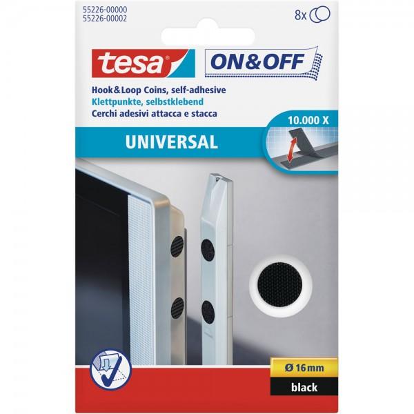 tesa On- & Off-Klettpunkte zum Aufkleben, 8er-Pack (Ø16mm), schwarz