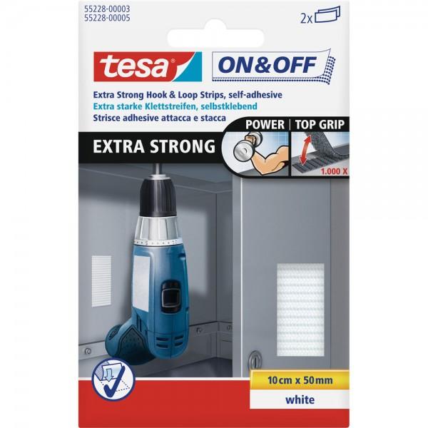 tesa On- & Off-Klettband extra stark, 2 x 10cm x 50mm, weiß