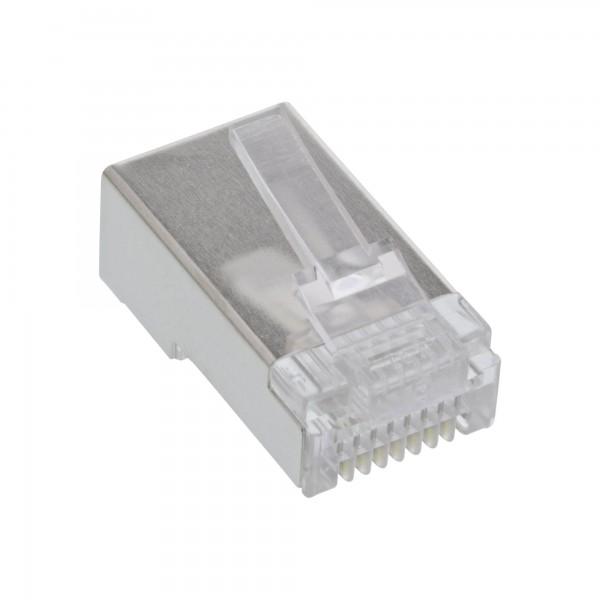 100er Pack InLine® Modularstecker 8P4C RJ45 zum Crimpen auf Rundkabel, geschirmt