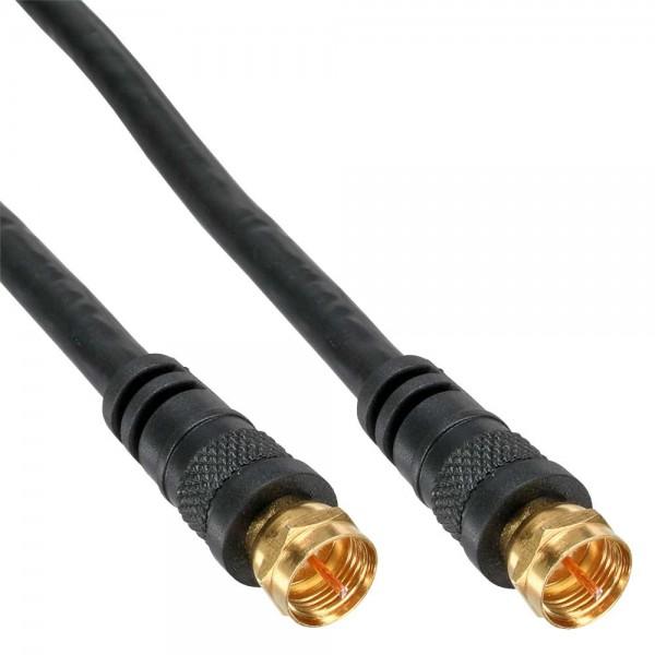 InLine® SAT-Anschlusskabel, 2x geschirmt, 2x F-Stecker, >85dB, schwarz, 10m