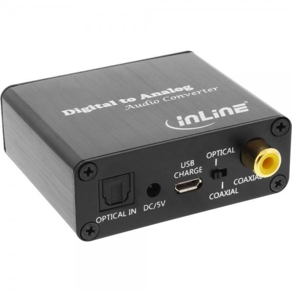 InLine® Audio-Konverter Digital zu Analog, DA-Wandler, Toslink & Cinch Eingang zu Cinch Stereo Ausgang, USB Power