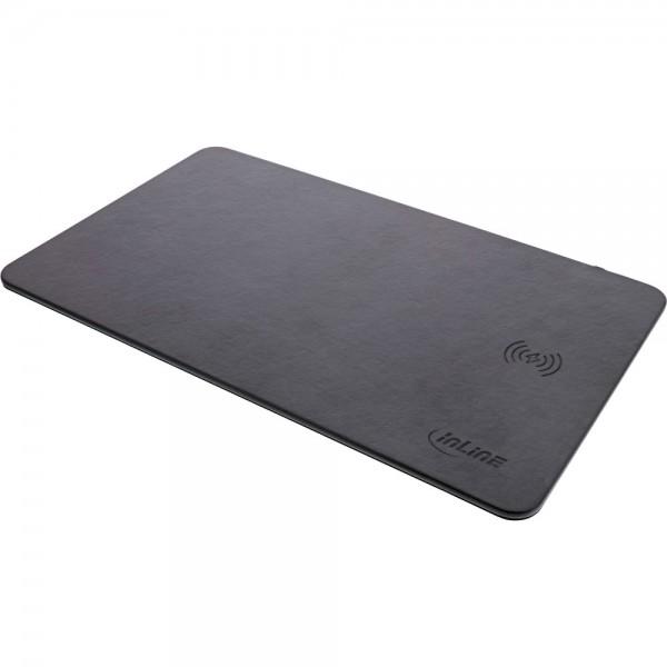 InLine® Maus-Pad, Wireless Charging (Qi), Kunstleder, 370x225x7mm, schwarz